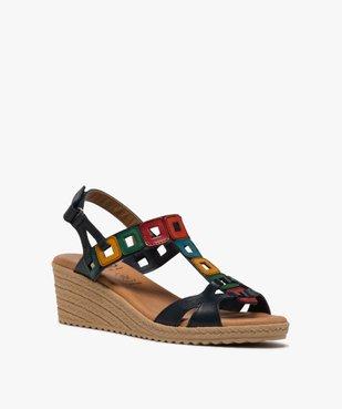 Sandales femme à talon compensé et brides en cuir colorées vue2 - GEMO(URBAIN) - GEMO