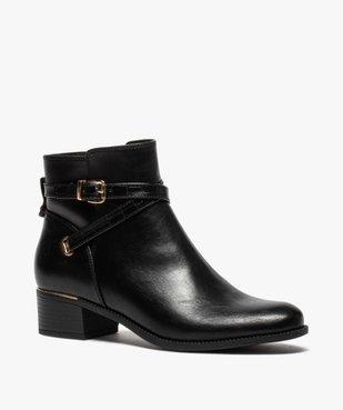 Boots femme unis à talon carré et finitions métallisées vue2 - GEMO (CASUAL) - GEMO