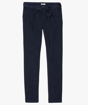 Pantalon femme chino en toile extensible avec ceinture à nouer vue4 - GEMO(FEMME PAP) - GEMO