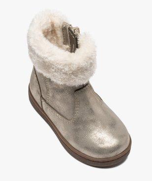 Boots fourrées bébé fille zippées dessus métallisé vue5 - GEMO(BEBE DEBT) - GEMO