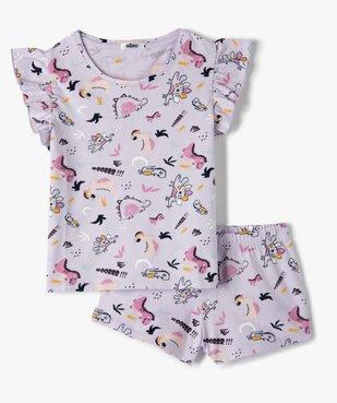 Pyjashort fille imprimé avec volants sur les épaules vue1 - GEMO (ENFANT) - GEMO