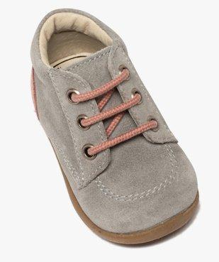 Bottillons premiers pas bébé fille en cuir fermeture lacets vue5 - Nikesneakers(BEBE DEBT) - Nikesneakers