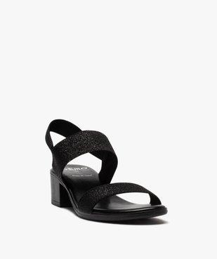 Sandales femme à talon carré et larges brides élastiquées vue2 - GEMO(URBAIN) - GEMO