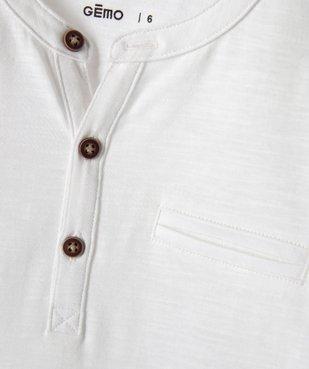 Tee-shirt garçon à manches longues et col tunisien vue2 - GEMO C4G GARCON - GEMO
