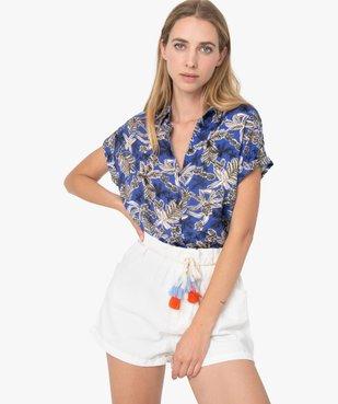 Chemise femme imprimée à manches courtes et bas élastiqué vue1 - GEMO(FEMME PAP) - GEMO