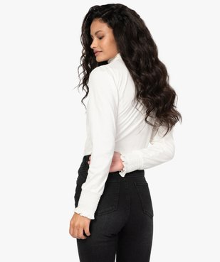 Tee-shirt femme à manches longues col montant vue3 - GEMO C4G FEMME - GEMO