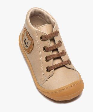 Bottines premiers pas bébé garçon en cuir avec décor lion vue5 - Nikesneakers(BEBE DEBT) - Nikesneakers