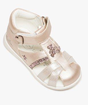 Sandales bébé fille pailletées à scratch - Lulu Castagnette vue5 - LULU CASTAGNETT - GEMO