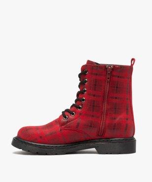 Boots femme rangers à semelle crantée lacets contrastés Dessus à carreaux vue3 - GEMO (CASUAL) - GEMO