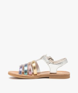 Sandales filles en cuir à brides multiples arc-en-ciel - Bopy vue3 - BOPY - GEMO