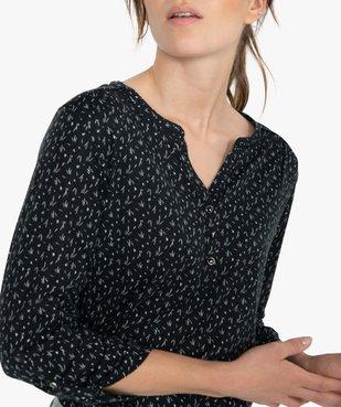 Tee-shirt femme à manches longues avec col fantaisie et boutons vue2 - GEMO(FEMME PAP) - GEMO
