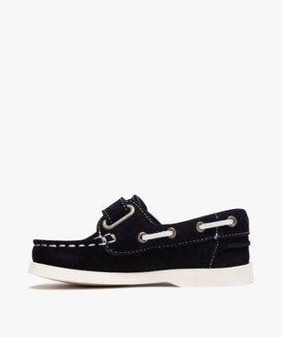 Chaussures bateau garçon dessus cuir à fermeture scratch Dessus cuir retourné uni vue3 - Nikesneakers (ENFANT) - Nikesneakers