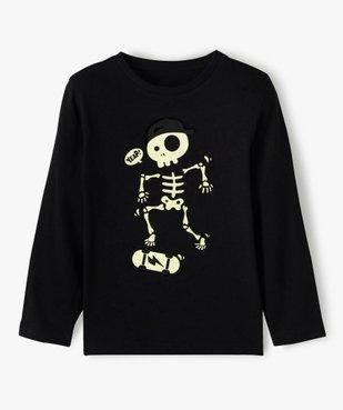 Tee-shirt garçon à manches longues motif squelette phosphorescent vue2 - GEMO (ENFANT) - GEMO