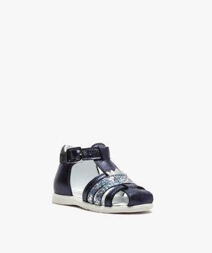 Sandales premiers pas bébé fille à reflets métallisés vue2 - Nikesneakers(BEBE DEBT) - Nikesneakers