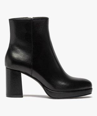 Boots femme unies à talon carré et semelle plateforme vue1 - GEMO(URBAIN) - GEMO