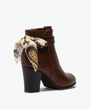 Boots femme unis à talon rainuré et ruban fantaisie vue4 - Nikesneakers(URBAIN) - Nikesneakers