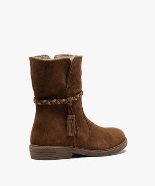 Boots fille unies en cuir fermeture zippée et doublure douce vue4 - Nikesneakers (ENFANT) - Nikesneakers
