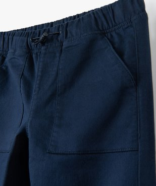 Pantalon garçon en toile extensible avec taille élastiquée vue2 - GEMO (ENFANT) - GEMO