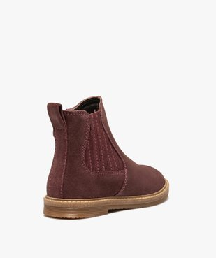 Boots fille zippées dessus cuir retourné style chelsea vue4 - GEMO (ENFANT) - GEMO