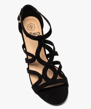 Sandales femme à talon carré et brides unies en suédine vue5 - GEMO(URBAIN) - GEMO