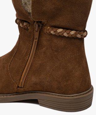 Boots fille unies en cuir fermeture zippée et doublure douce vue6 - Nikesneakers (ENFANT) - Nikesneakers