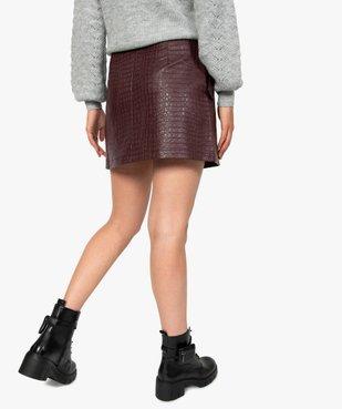 Jupe femme évasée en synthétique imitation cuir avec ceinture vue3 - GEMO(FEMME PAP) - GEMO