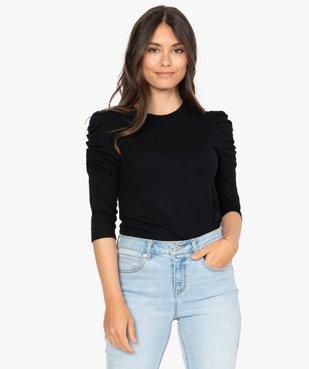 Tee-shirt femme à manches ¾ froncées vue1 - GEMO(FEMME PAP) - GEMO
