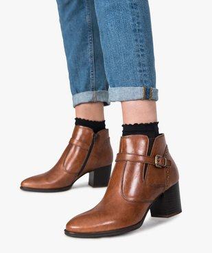 Boots pour femme avec bride et boucle métallique sur le côté vue1 - GEMO(URBAIN) - GEMO