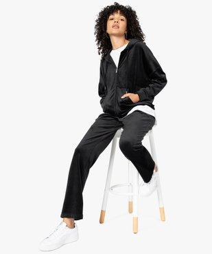 Sweat femme zippé à capuche en velours vue5 - GEMO(FEMME PAP) - GEMO