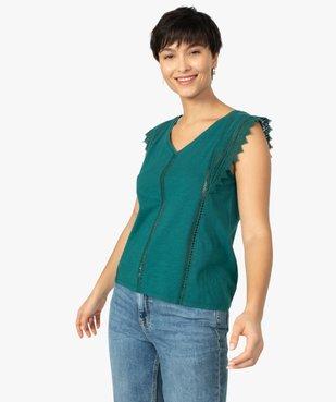 Tee-shirt femme à col V dentelle et crochet vue1 - GEMO(FEMME PAP) - GEMO