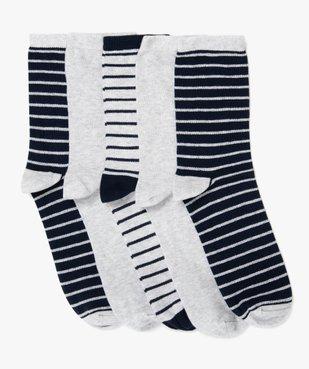 Chaussettes garçon  rayées à tige haute (lot de 5) vue1 - GEMO (ENFANT) - GEMO