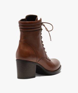 Boots femme unis à talon dessus cuir à lacets vue4 - GEMO(URBAIN) - GEMO