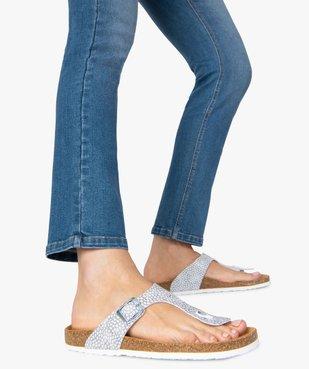 Sandales femme à large bride entre-doigts imprimée vue1 - GEMO (CASUAL) - GEMO