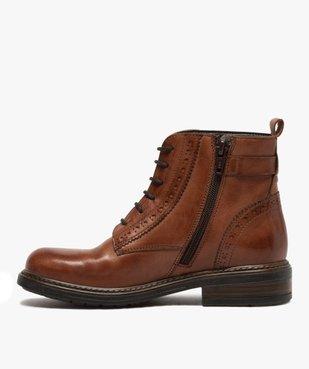 Boots fille dessus cuir ajouré à fermeture lacets et zip vue3 - GEMO (ENFANT) - GEMO