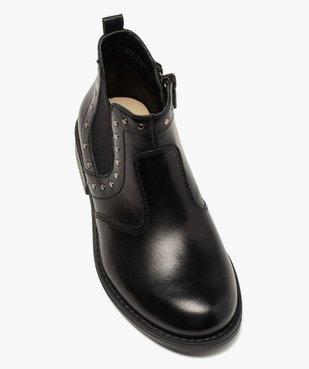 Boots fille en cuir uni style chelsea ornées de clous vue5 - GEMO (ENFANT) - GEMO