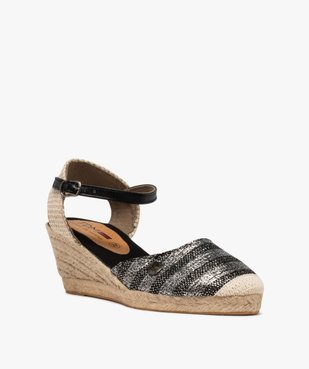 Sandales femme en toile à talon compensé – Terre de Marins vue2 - TERRE DE MARINS - GEMO