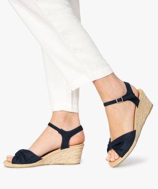 Sandales femme à talon compensé en corde vue1 - GEMO(URBAIN) - GEMO