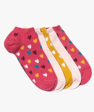 Chaussettes fille ultra-courtes motif cœurs (lot de 5) vue1 - GEMO (ENFANT) - GEMO