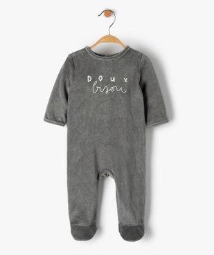 Pyjama bébé en velours avec message vue1 - GEMO(BB COUCHE) - GEMO