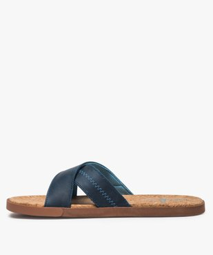 Sandales homme mules à brides croisées et semelle liège vue3 - GEMO (CASUAL) - GEMO