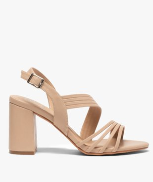 Sandales femme unies à talon et fines brides vue1 - GEMO(URBAIN) - GEMO