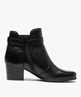 Boots femme à talon rainuré dessus cuir uni vue3 - GEMO(URBAIN) - GEMO