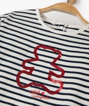Tee-shirt bébé fille à rayures et motif sequins – Lulu Castagnette vue3 - LULUCASTAGNETTE - GEMO