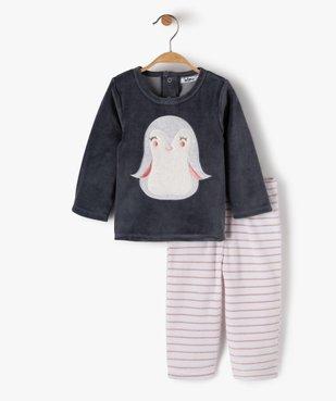 Pyjama bébé fille 2 pièces avec motif pingouin  vue1 - GEMO(BB COUCHE) - GEMO