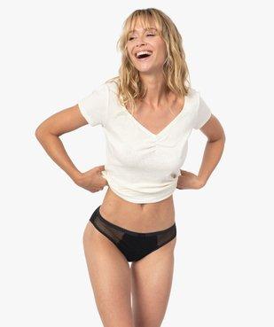 Culotte menstruelle en coton stretch et plumetis pour flux moyen - Dim Protect vue3 - DIM - GEMO