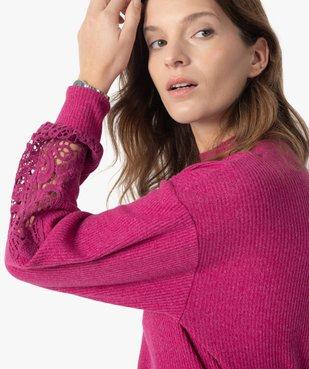 Tee-shirt femme court en maille côtelée avec manches brodées vue2 - GEMO(FEMME PAP) - GEMO