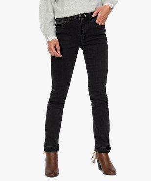 Jean femme regular taille normale noir avec ceinture vue1 - GEMO(FEMME PAP) - GEMO