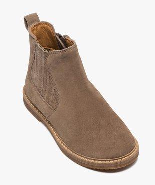 Boots fille zippées dessus cuir retourné style chelsea vue5 - GEMO (ENFANT) - GEMO