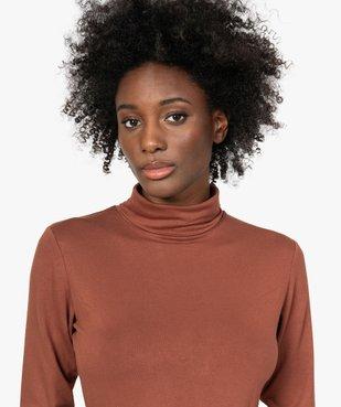 Tee-shirt femme uni avec col roulé et manches longues vue2 - GEMO(URBAIN) - GEMO