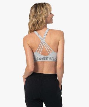 Brassière de sport femme avec fines brides croisées dans le dos vue3 - GEMO(HOMWR FEM) - GEMO